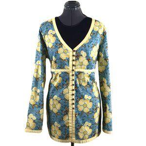 Liz & Co Floral Button up Tunic Blouse